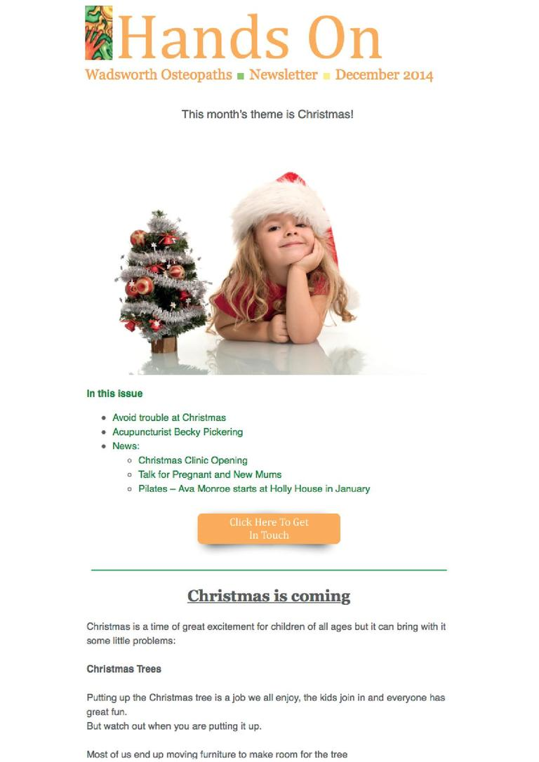 Wadsworth Osteopaths - Christmas newsletter