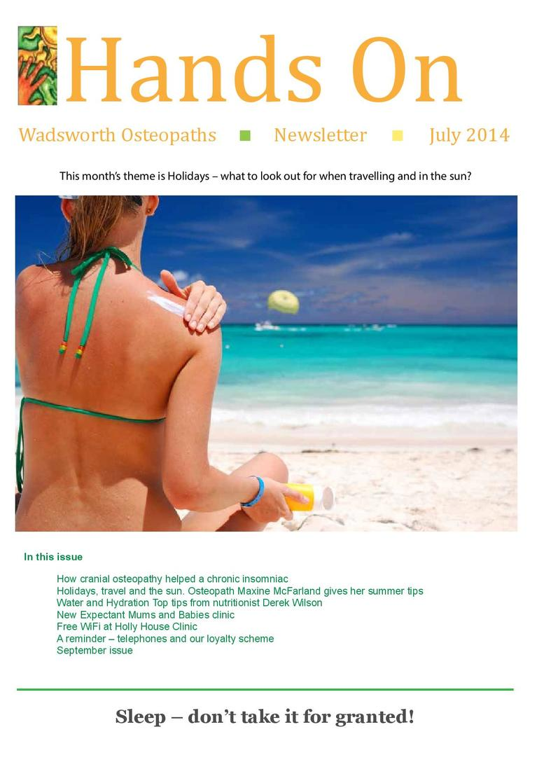 Wadsworth Osteopaths - holidays newsletter