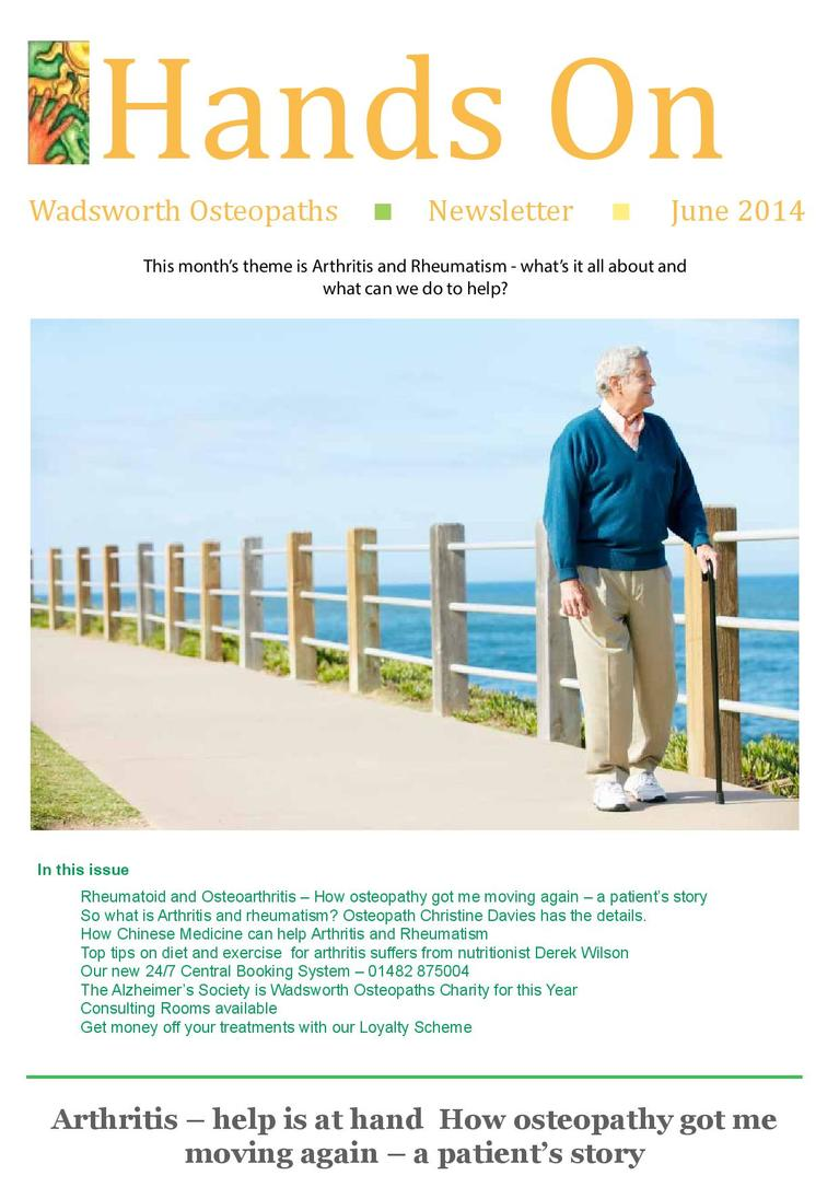 Wadsworth Osteopaths - arthritis & rheumatism newsletter
